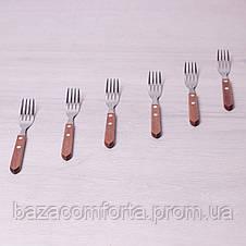 Набор столовых вилок Kamille 6 предметов из нержавеющей стали с деревянными ручками, фото 3
