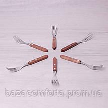 Набор столовых вилок Kamille 6 предметов из нержавеющей стали с деревянными ручками, фото 2