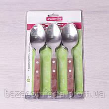 Набор столовых ложек Kamille 6 предметов из нержавеющей стали с деревянными ручками