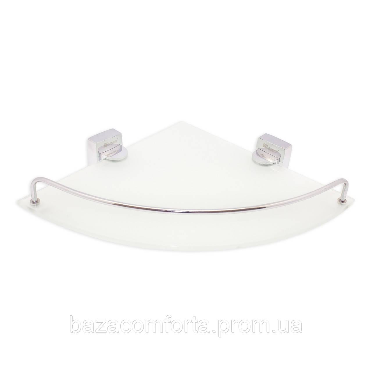 Полка для ванной Besser угловая стеклянная 28*28*6см