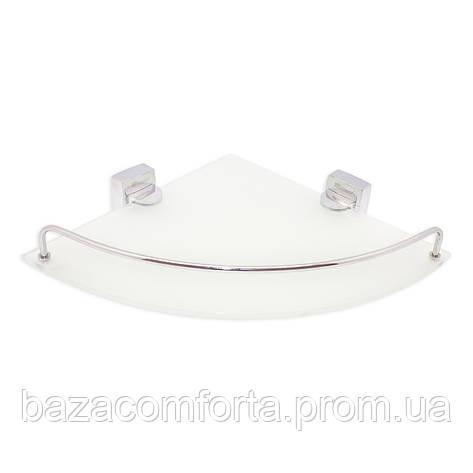 Полка для ванной Besser угловая стеклянная 28*28*6см, фото 2