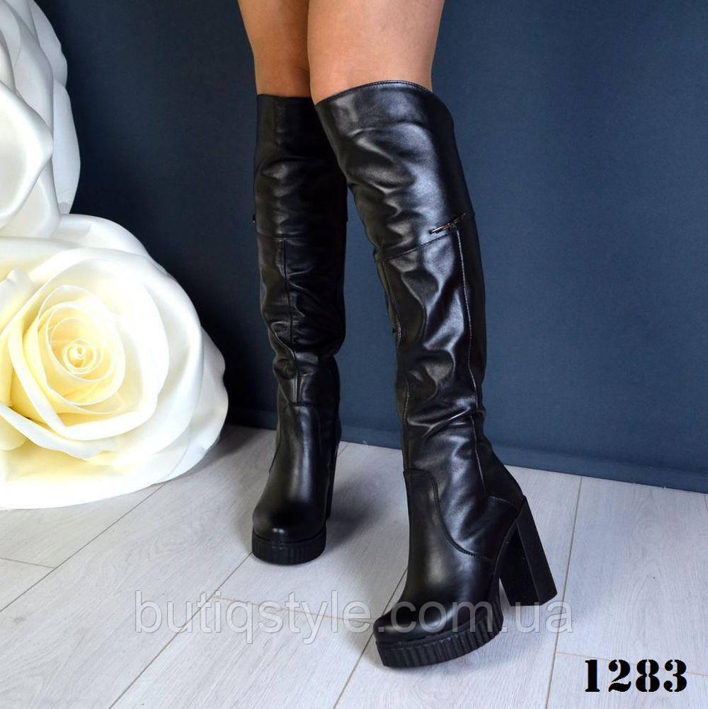 38, 40 размер! Ботфорты женские Сhic из натуральной кожи
