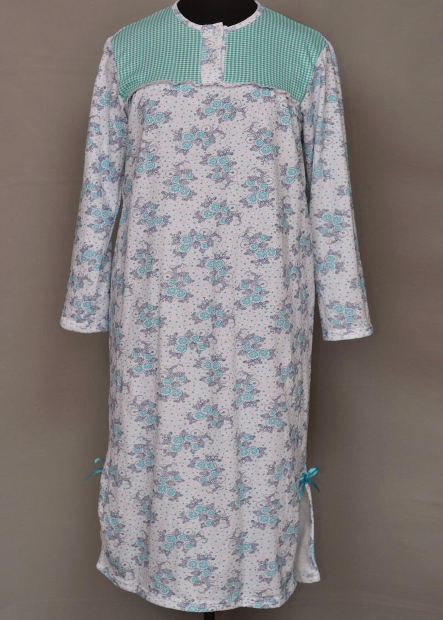 Тепла довга нічна сорочка жіноча (ночнушка) великого розміру бавовняна з начосом байкова (Україна)