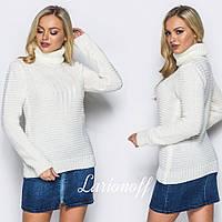 Женский свитер из полушерсти с высокой горловиной 404386
