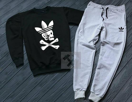 Спортивный костюм без молнии Adidas черно-серый топ реплика, фото 2
