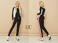 Женский черный спортивный костюм с вставками 3105451, фото 1