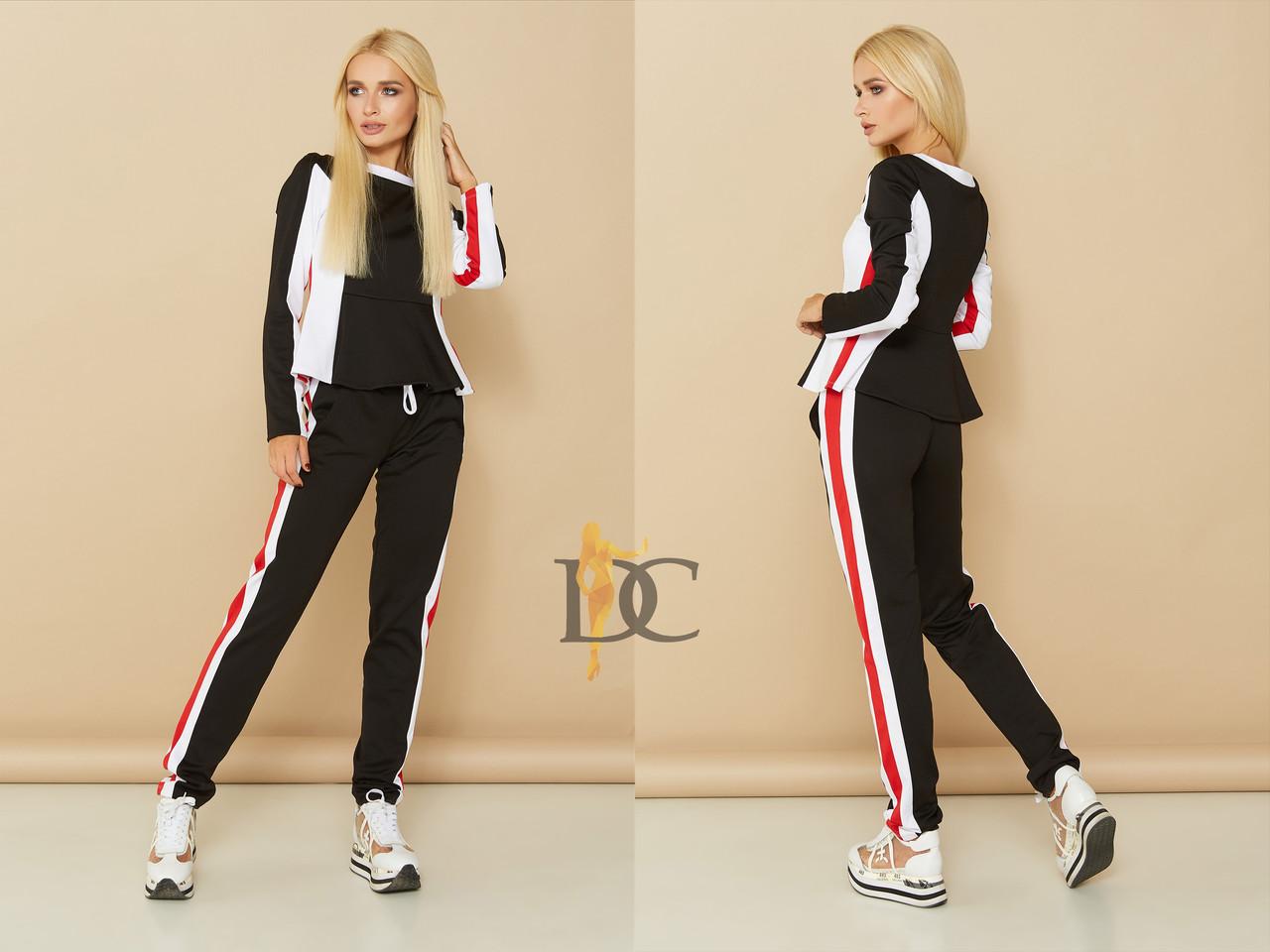 Женский черный спортивный костюм с вставками 3105451