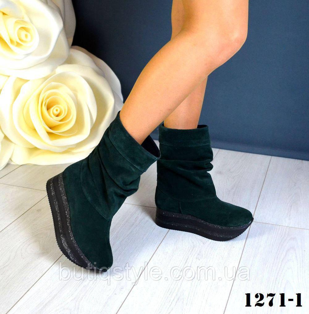 Стильные женские ботинки Viva//maxi натуральный замш изумруд на флисе