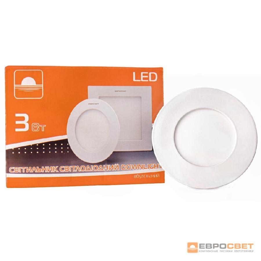Светильник точечный врезной ЕВРОСВЕТ 3Вт круг LED-R-90-3 4200К
