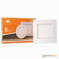Светильник точечный врезной ЕВРОСВЕТ 6Вт квадрат LED-S-120-6 6400К  , фото 1
