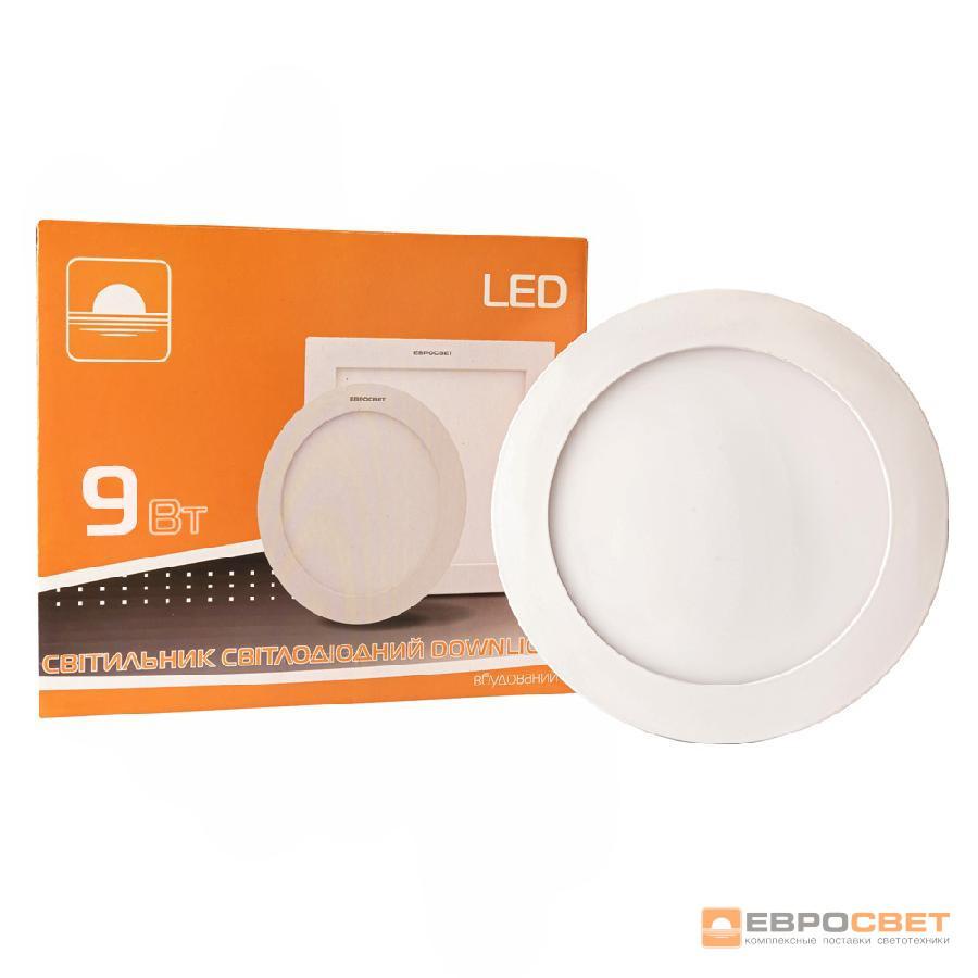 Светильник точечный врезной ЕВРОСВЕТ 9Вт круг LED-R-150-9 4200К