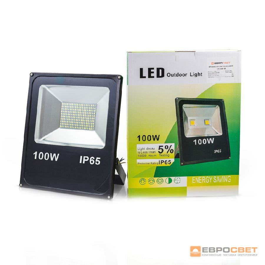 Прожектор светодиодный ЕВРОСВЕТ 100Вт 6400К EV-100-01 7000Лм SMD