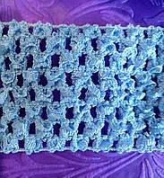 Ткань-резинка ажурная, ширина 5,5 см. Голубая. Отрез 1 м., фото 1