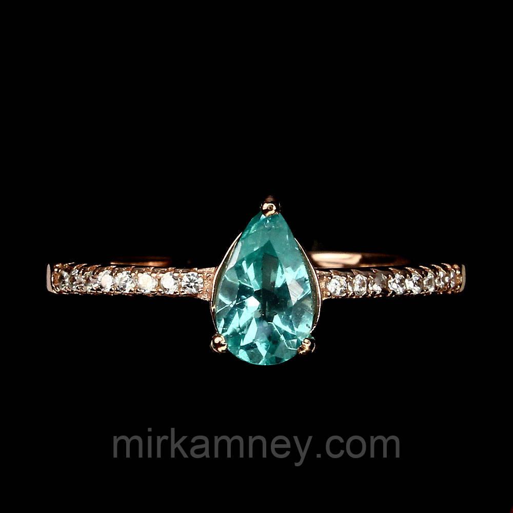 Кольцо с натуральным апатитом размер 17 серебро в позолоте