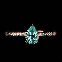 Кольцо с натуральным апатитом размер 17 серебро в позолоте, фото 1