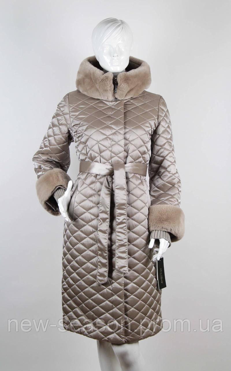 Пуховик длинный стеганый  Snow Beauty 1773 бежевый
