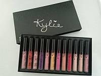Набор матовых жидких губных помад KYLIE Кайли 12 в 1 Black Edition черный набор