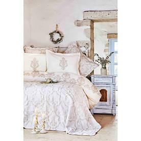 Набор постельное белье с покрывалом Karaca Home - Matteo 2018-2 bej евро