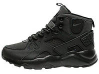 Мужские кроссовки Nike Air Huarache Winter Full Black (найк хуарачи, термо)