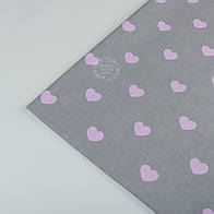 Отрез ткани №404а  с розовыми сердечками на сером фоне, размер 52*160