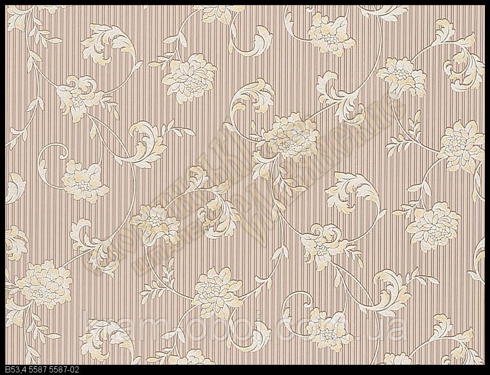 Обои Славянские Обои КФТБ виниловые на бумажной основе 10 метровые 10м*0,53 9В53 Бонни 2 5587-02