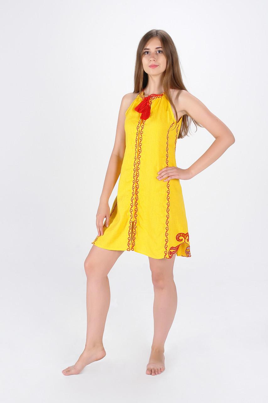 """Сукня вишита """"Мавка міні"""", жовта"""