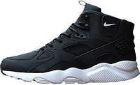 Мужские кроссовки Nike Air Huarache Winter Black White (найк хуарачи, термо)