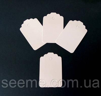 Тэги из дизайнерского картона 70x45 мм, цвет перламутровый персиковый, 10 шт