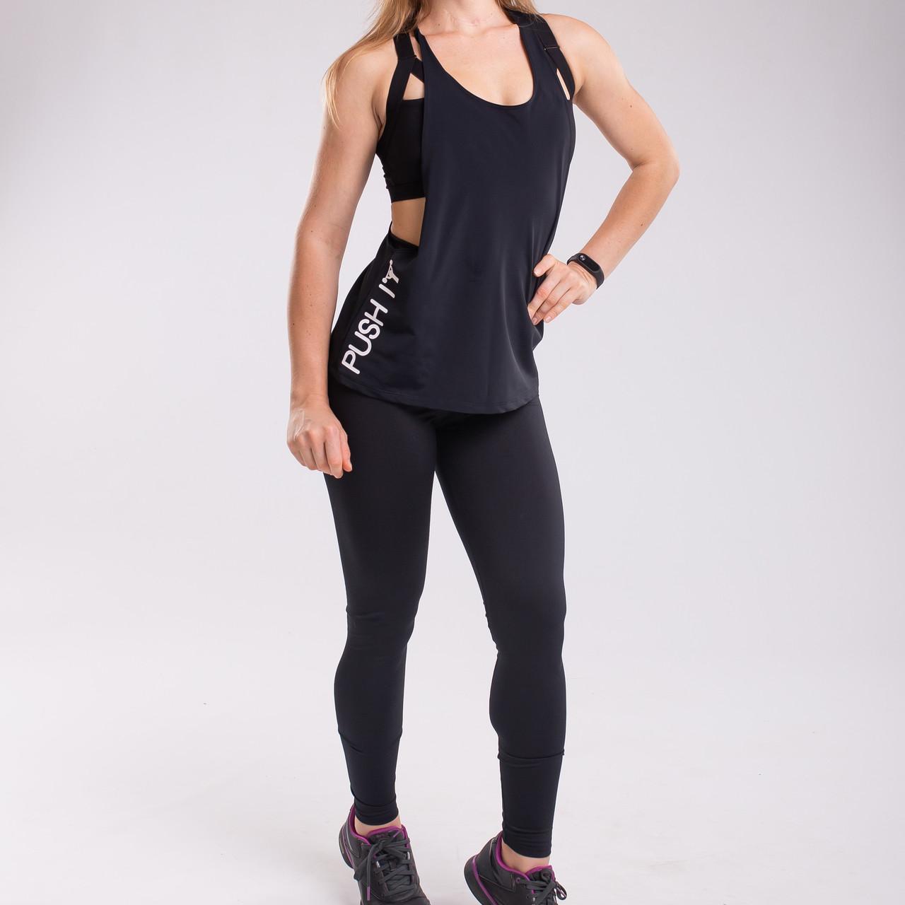 Костюм черный спортивный Set Black Bend: лосины + майка push it