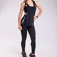 Костюм черный спортивный Set Black Bend: лосины + майка push it, фото 1
