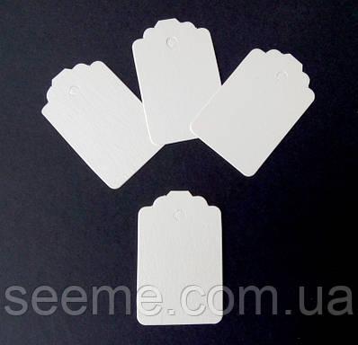 Тэги из дизайнерского картона 70x45 мм, цвет перламутровый молочный, 10 шт