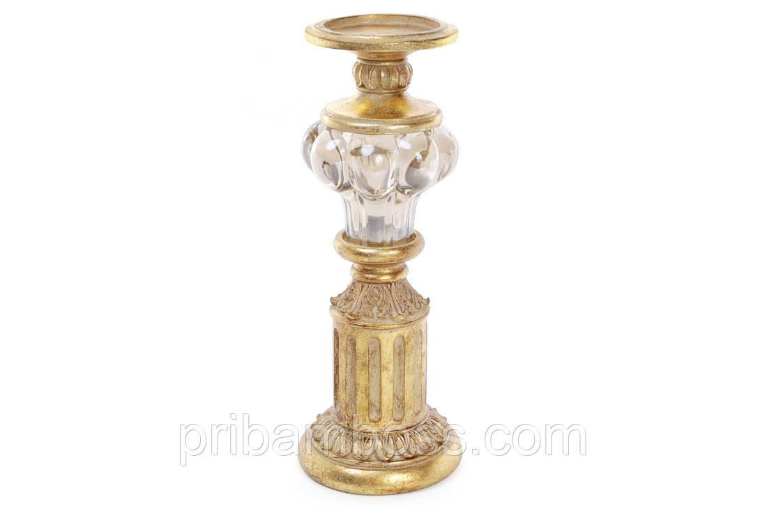 Підсвічник 33.8 см зі скляною вставкою, колір - золото антик