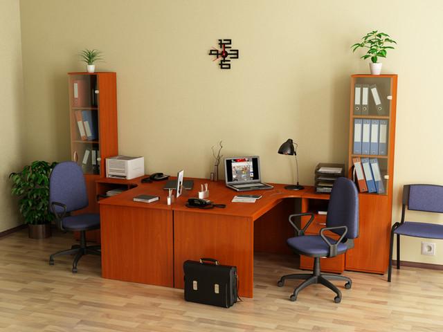 Стол для компьютера SL-202 левый и SL-203 правый в интерьере офиса, цвет Яблоня