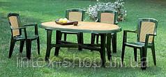 Комплект садовой мебели Wood 4 четире кресла и стол из высококачественного пластика. Италия.