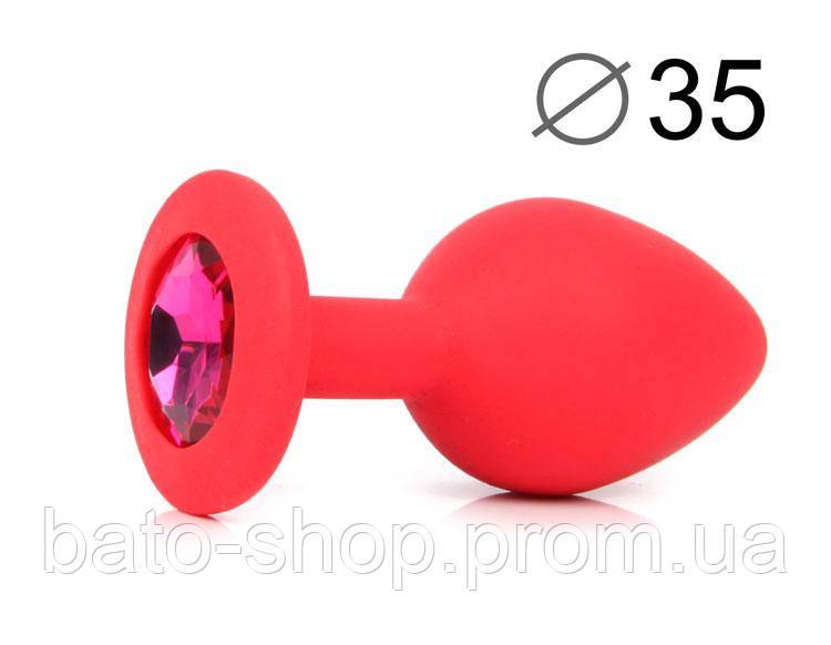 ВТУЛКА АНАЛЬНАЯ, L 80 мм D 35 мм, красная, цвет кристалла рубиновый, силикон