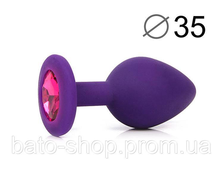ВТУЛКА АНАЛЬНАЯ, L 80 мм D 35 мм, фиолетовая, цвет кристалла рубиновый, силикон