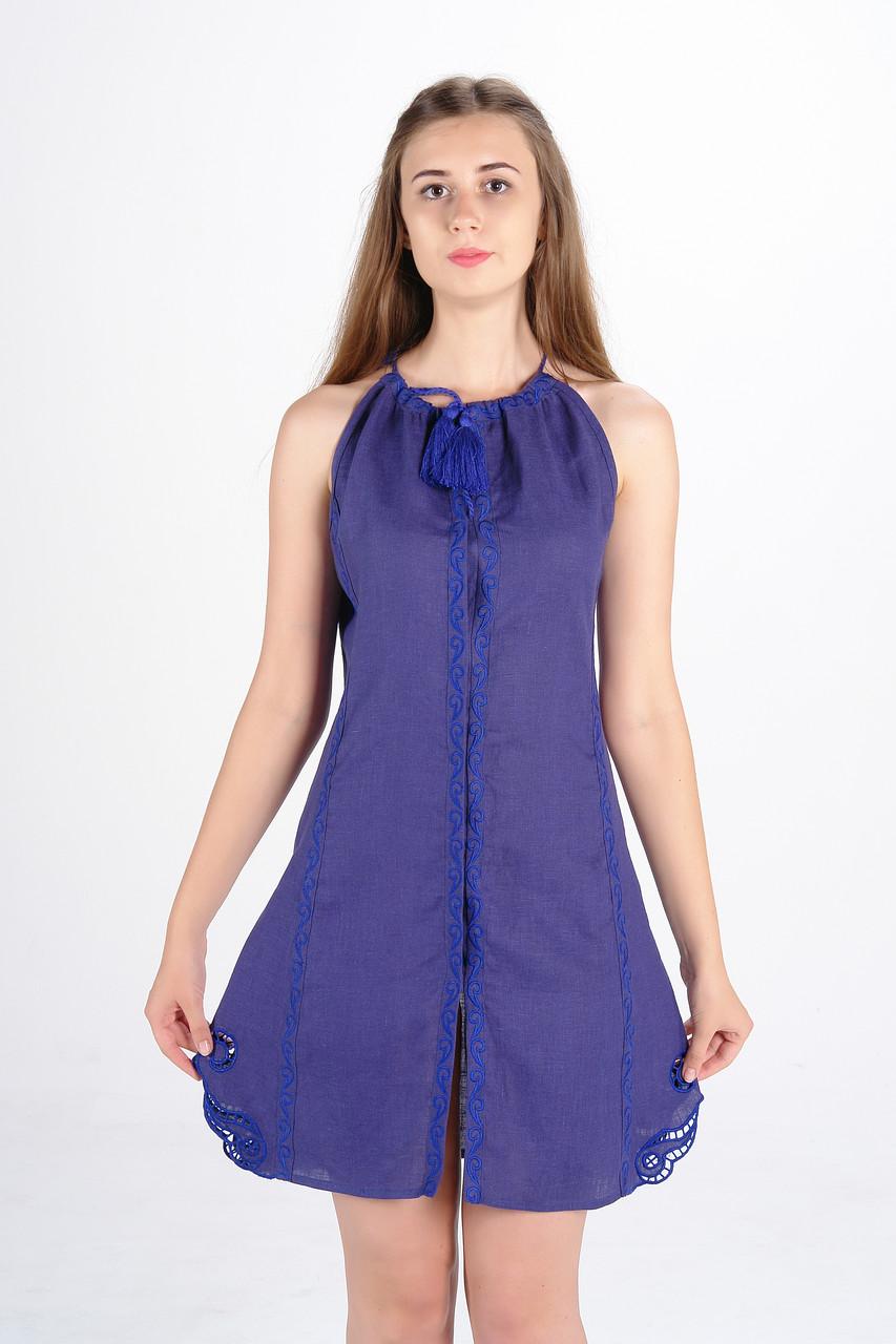 """Сукня вишита """"Мавка міні"""",  синя"""