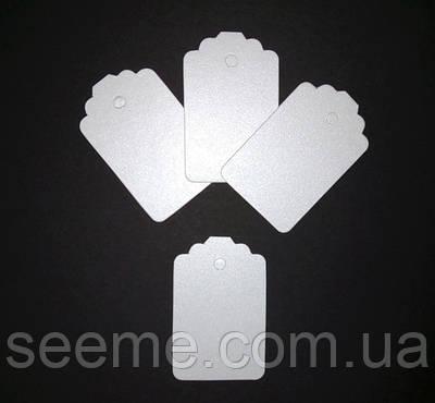 Тэги из дизайнерского картона 70x45 мм, цвет перламутровый белый, 10 шт