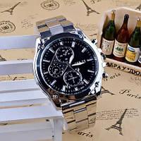 Часы мужские наручные кварцевые с металлическим браслетом (чёрный циферблат)
