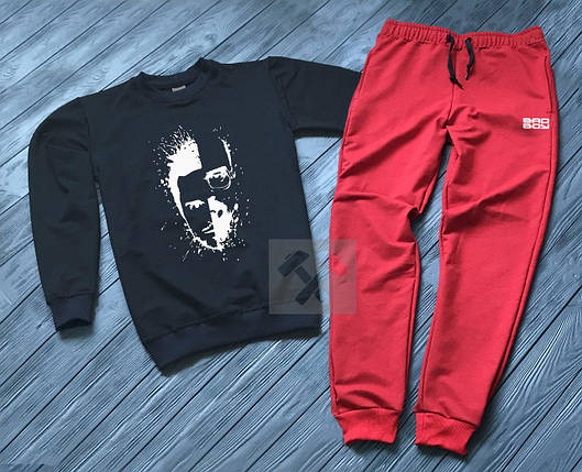 Спортивный костюм без молнии Bad Boy черно-красный топ реплика, фото 2