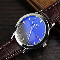 Часы мужские наручные кварцевые с коричневым ремешком и белой строчкой (чёрный циферблат)