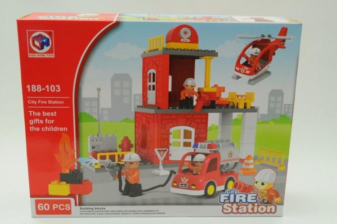 Конструктор 188-103 Kids Home Toys, Пожежна станція, 60 деталей (Аналог Lego Duplo 5601)