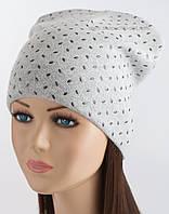 Стильная шапка-колпак Кунжут светло-серая