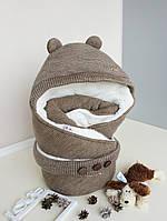 """Зимний конверт для новорожденных """"Мишутка"""", коричневый, фото 1"""