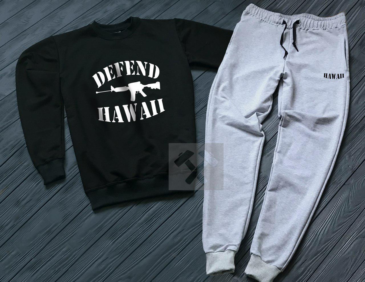 Спортивный костюм без молнии Defend черно-серый топ реплика