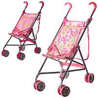Коляска 9302 W-B для куклы, железная, зонт, дв.колеса, поворот, сет-сумка, высота до ручки 53см