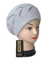 Берет Yuan Meng ( шапка-берет) женский вязаный Nella шерсть с ангорой серого светлого цвета