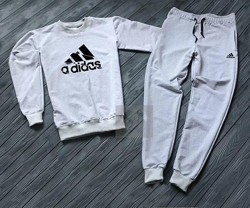 Спортивный костюм без молнии Adidas серый топ реплика, фото 2