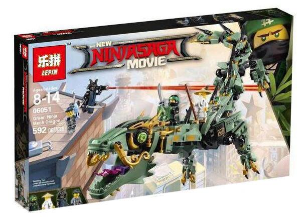 "Конструктор Lepin 06051 ""Механический Дракон Зелёного Ниндзя"" Ниндзяго Муви, 592 деталей. Аналог Lego 70612"