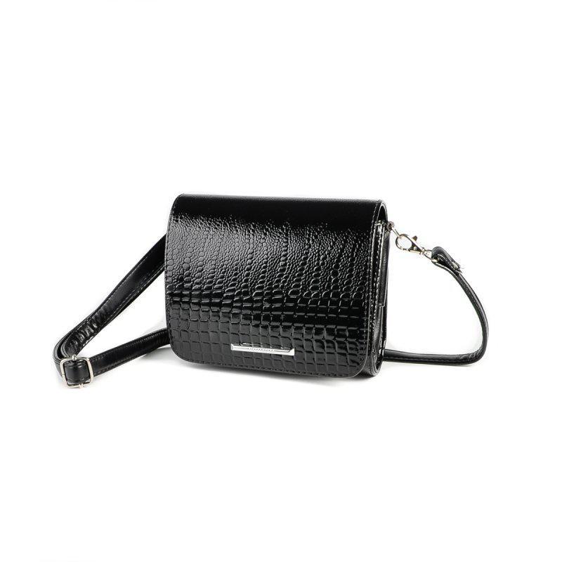 06cc90ac2f03 Маленькая черная сумка М69-Z/14 женская лаковый питон - Интернет магазин  сумок SUMKOFF